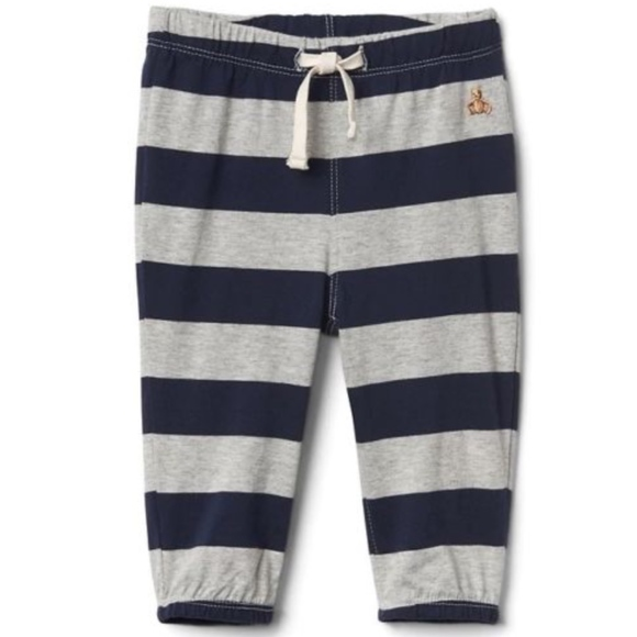 GAP Baby Boys Size 0-3 Months Gray White Striped Knit Pull-On Sweatpants Pants